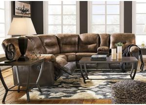 Leonberg Coffee Reclining Sectional + Coctail Table + 2 End Tables + FREE Fireplace TV Stand + FREE TV
